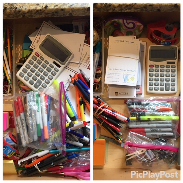 before and after junk drawer